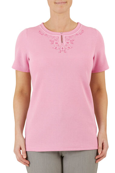 Embroidered Keyhole Rib Back T-Shirt