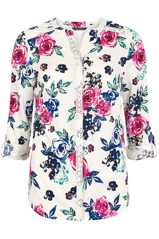 Floral Print Lace Trim Blouse