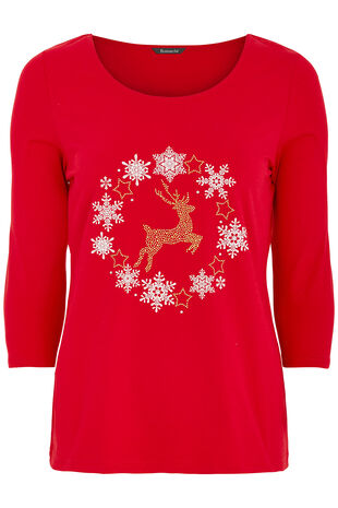Reindeer Diamante T-Shirt