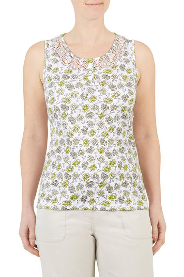 Printed Lace Insert Vest