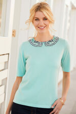 Embroidered Lace Collar Short Sleeve Jumper