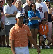OnlineGolf News: Rickie Fowler holes his putt – into a sprinkler head