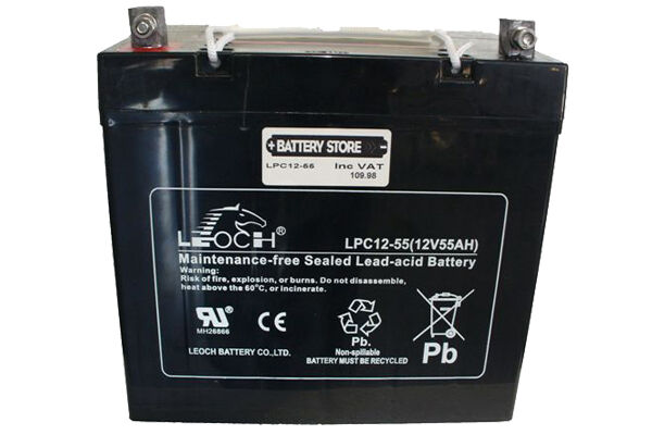 Leoch LPC 12V 55AH 18 Hole Scooter Battery