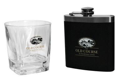 St Andrews Whisky Tumbler & Hipflask