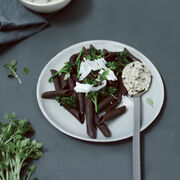 Chocolate pasta with pesto, ricotta & broccoli, , hi-res
