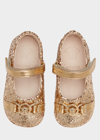 Glitter Flats with Medusa Details Baby Accessories  6 - 36 months - Young Versace