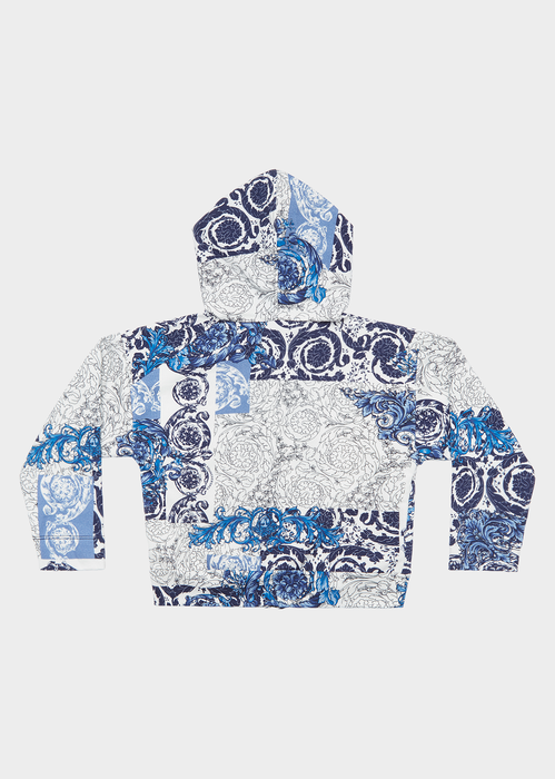 Iconic Baroque Print Zip Hoodie - Young Versace Clothing
