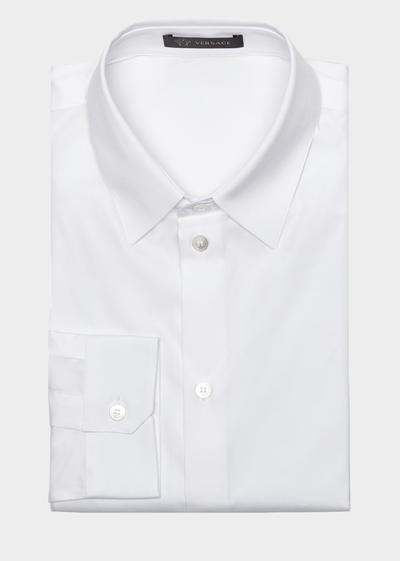 Stretch Cotton Collared Shirt Shirts - Versace Abbigliamento