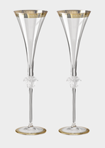 Medusa D'or Champagne flute set - Versace Glass & Crystal