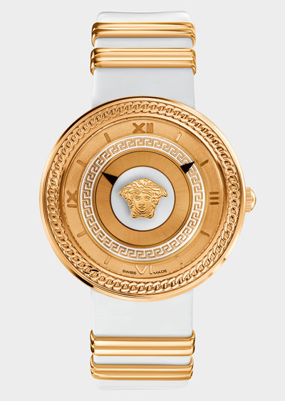 V- Metal Icon White and Gold Watches - Versace Preziosi