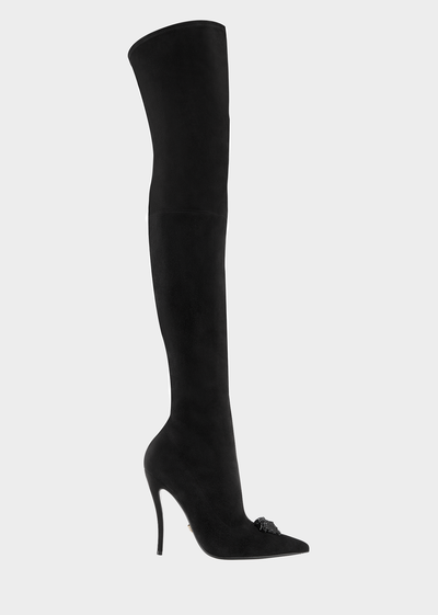 Palazzo Suede Stiletto Boot Boots & Booties - Versace Accessori