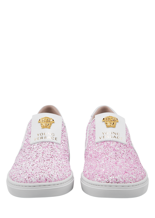Glittering slip-on with Medusa - Young Versace Accessories