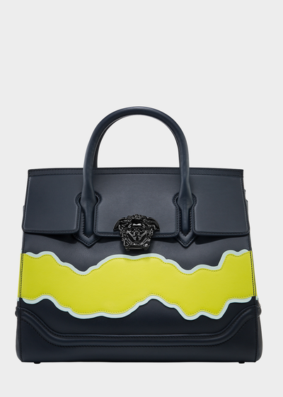 Palazzo Empire Wave Leather Bag Top Handle - Versace Accessori