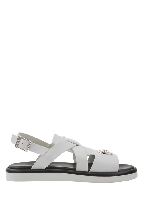 Leather sandals with cross straps - Young Versace Accessories