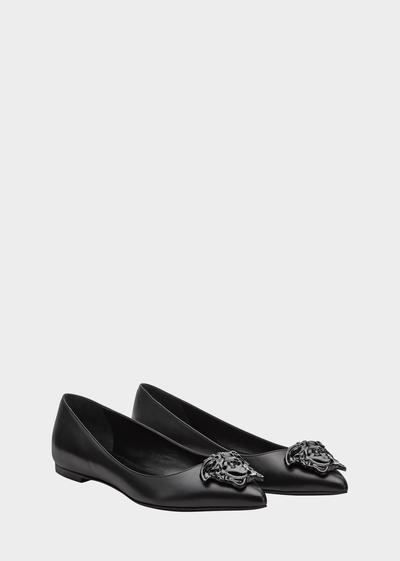 Palazzo Leather Ballet Flats Flats - Versace