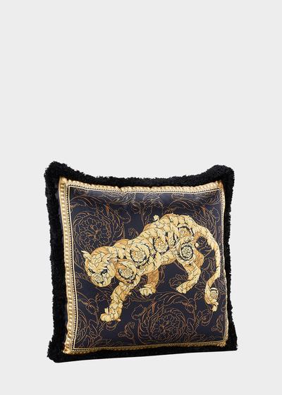 Lion Barocco Silk Pillow - Versace Home Cushions
