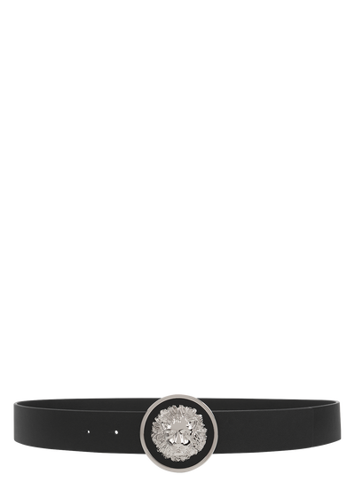 Etched Lion Head Round Buckle Belt Belts - Versus Versace