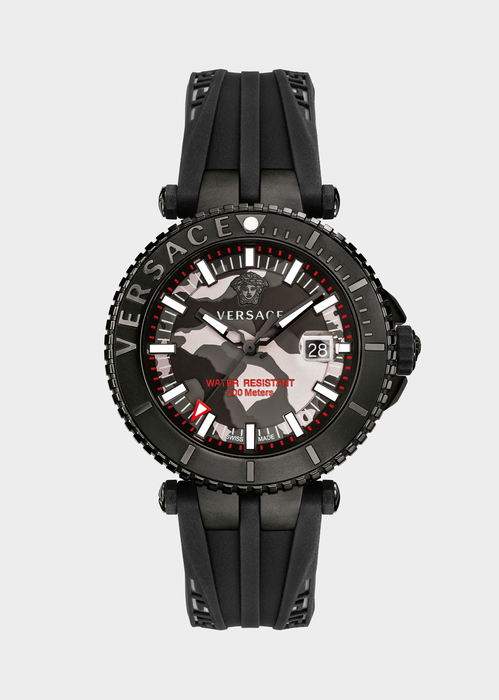 V-Race Diver Grey Camo Dial Watch - Versace Watches