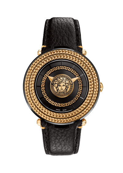 Black V-Metal Icon 46MM Watches - Versace
