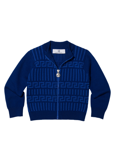 Greca Zip-Up Sweater Apparel - Young Versace