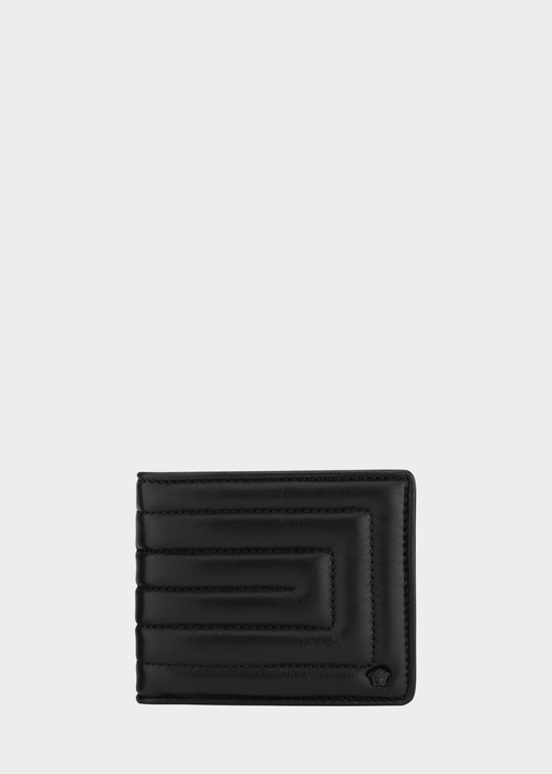 Quilted Greek Key Leather Wallet - Versace Wallets