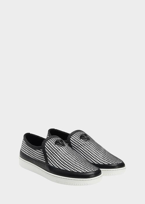 Woven Leather Palazzo Sneaker Sneakers - Versace Accessori