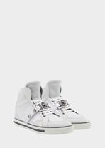 Signature Leather High-Top Sneakers - Versace Accessori