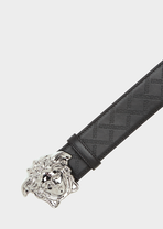 Medusa Embossed Greca Leather Belt - Versace Belts