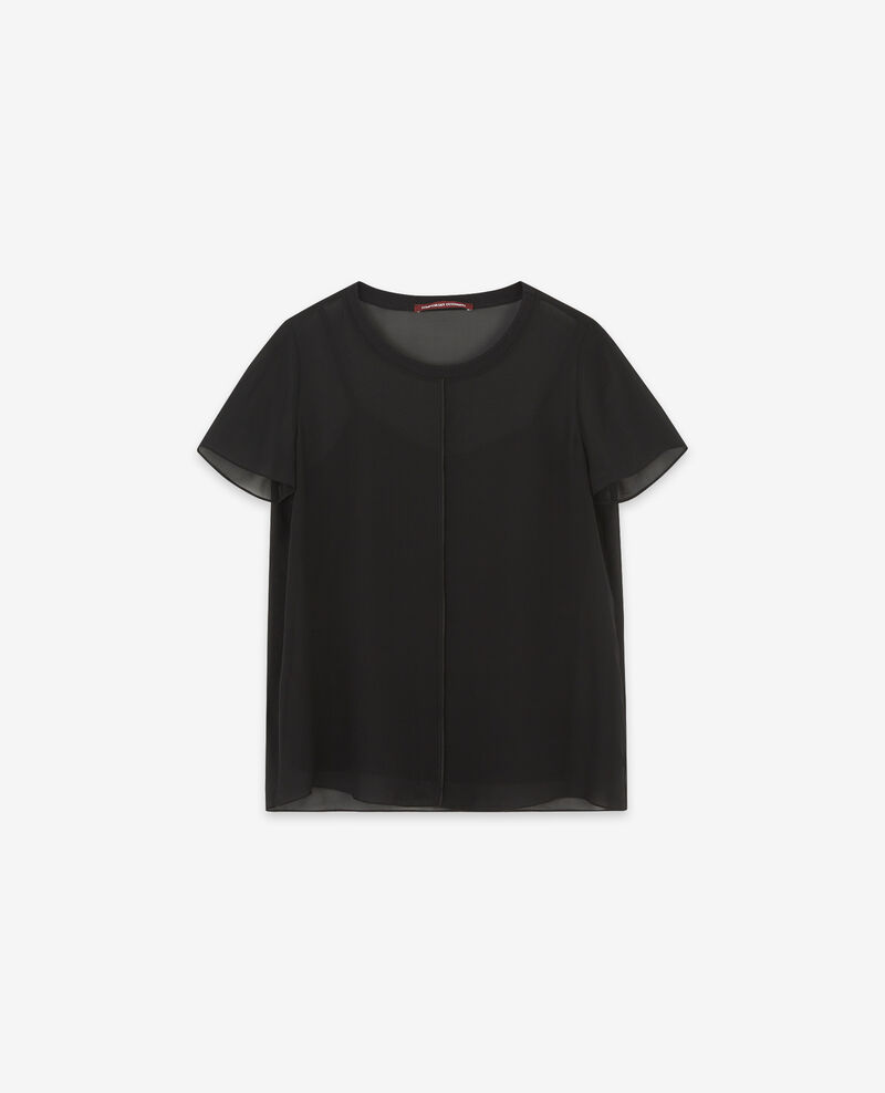 T-shirt en voile de soie Noir Dartiste