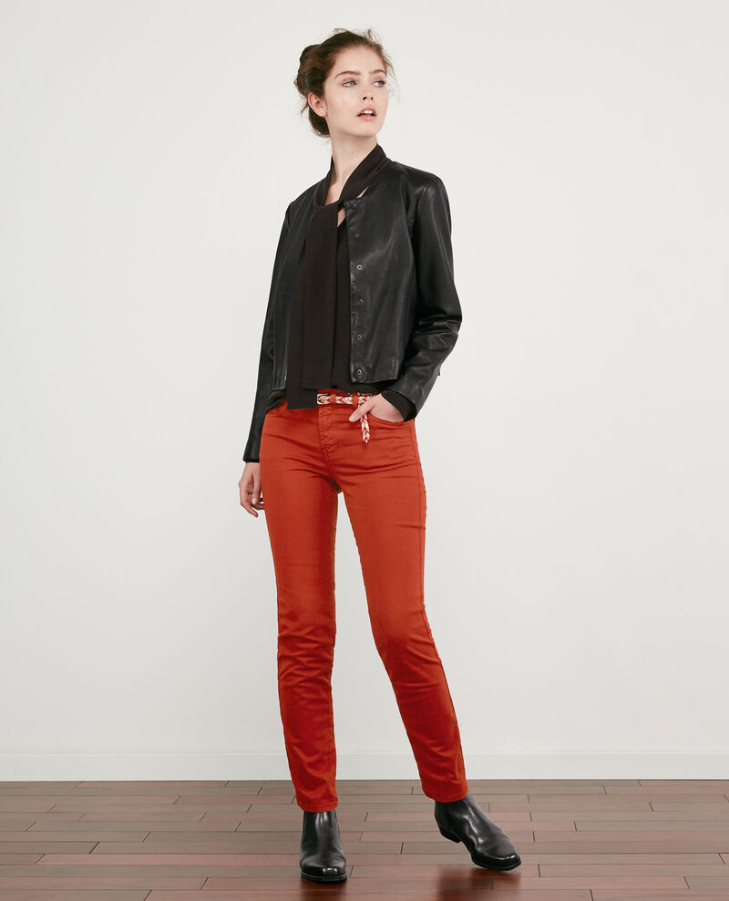 Soft touch cigarette fit jeans Rust Dhanna