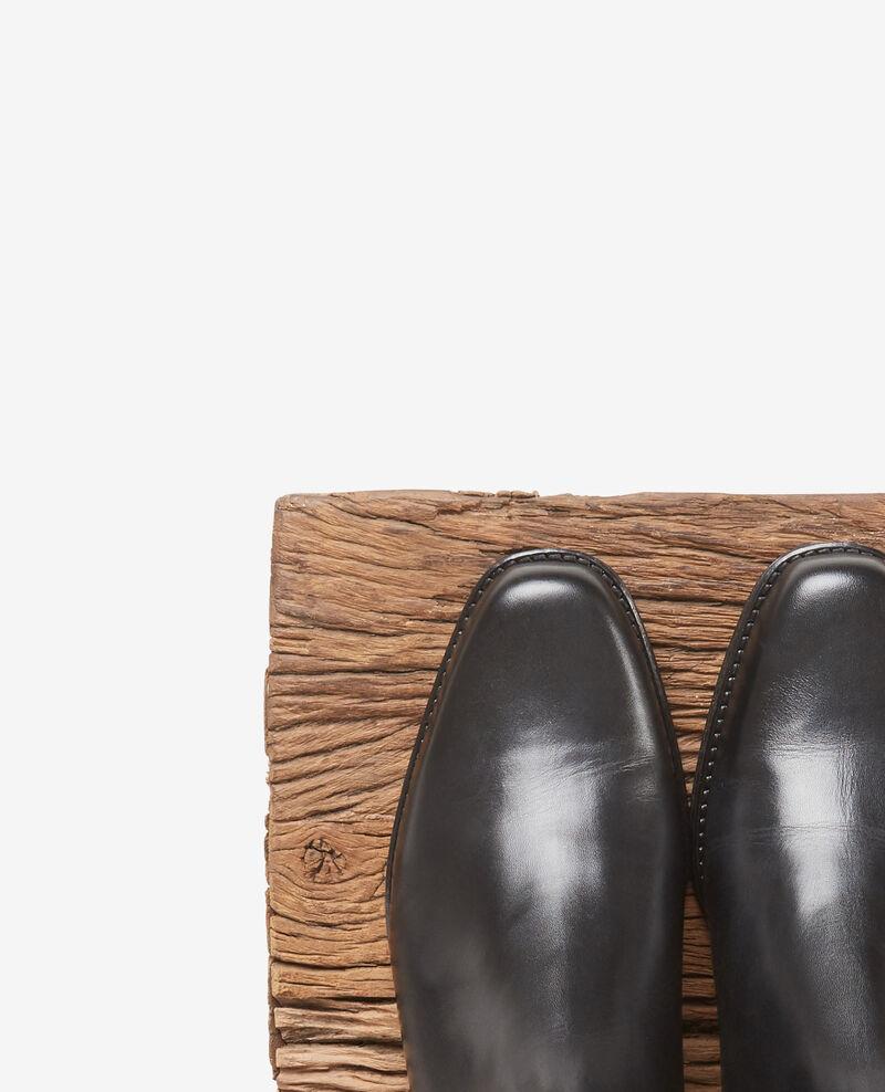 Bottines plates en cuir Noir Defi