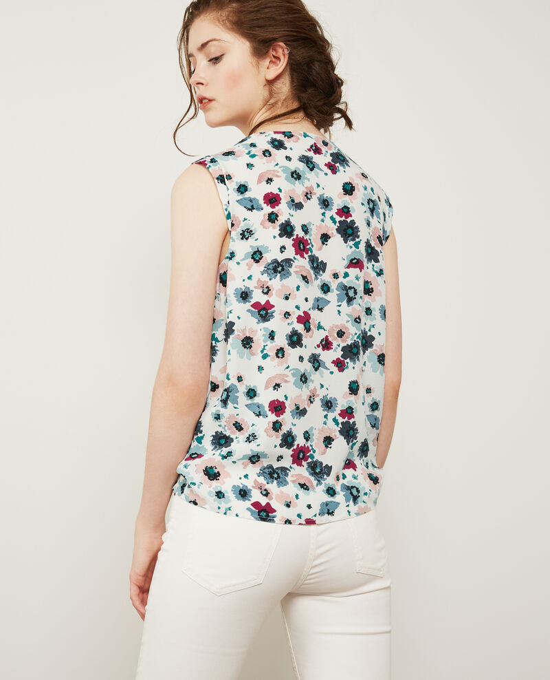 Gemusterte Cache-coeur-Bluse Poppies off white Donjuan