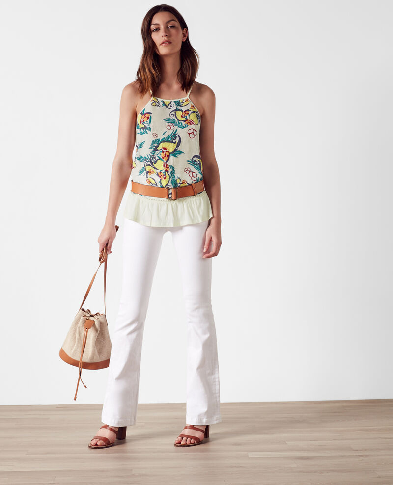 Linen and silk print tank top Tropical off white Cesaria