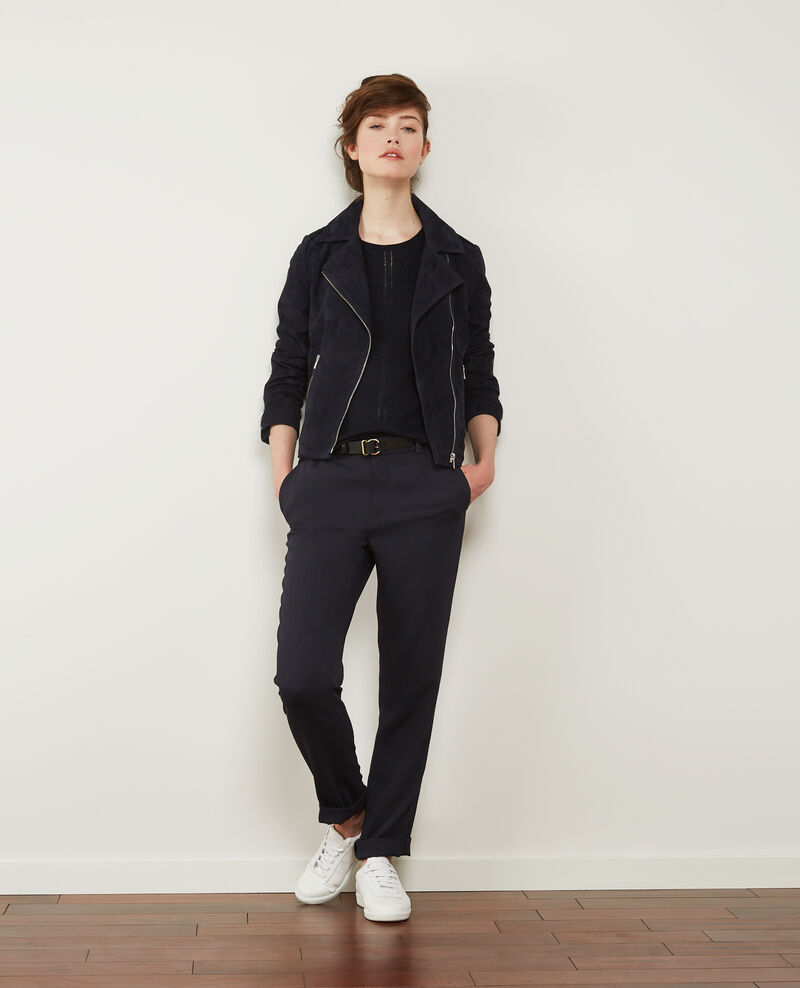 Suede leather jacket Dark navy Decane