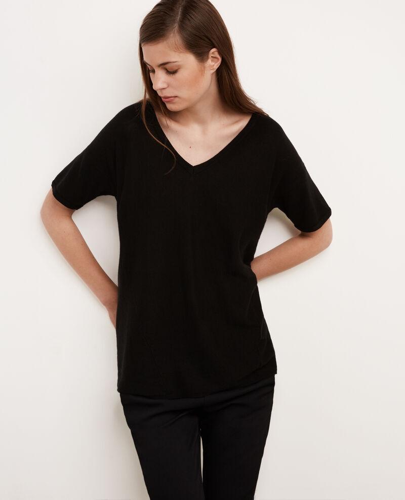 pull manches courtes en coton et cachemire noir bonbon comptoir des cotonniers. Black Bedroom Furniture Sets. Home Design Ideas