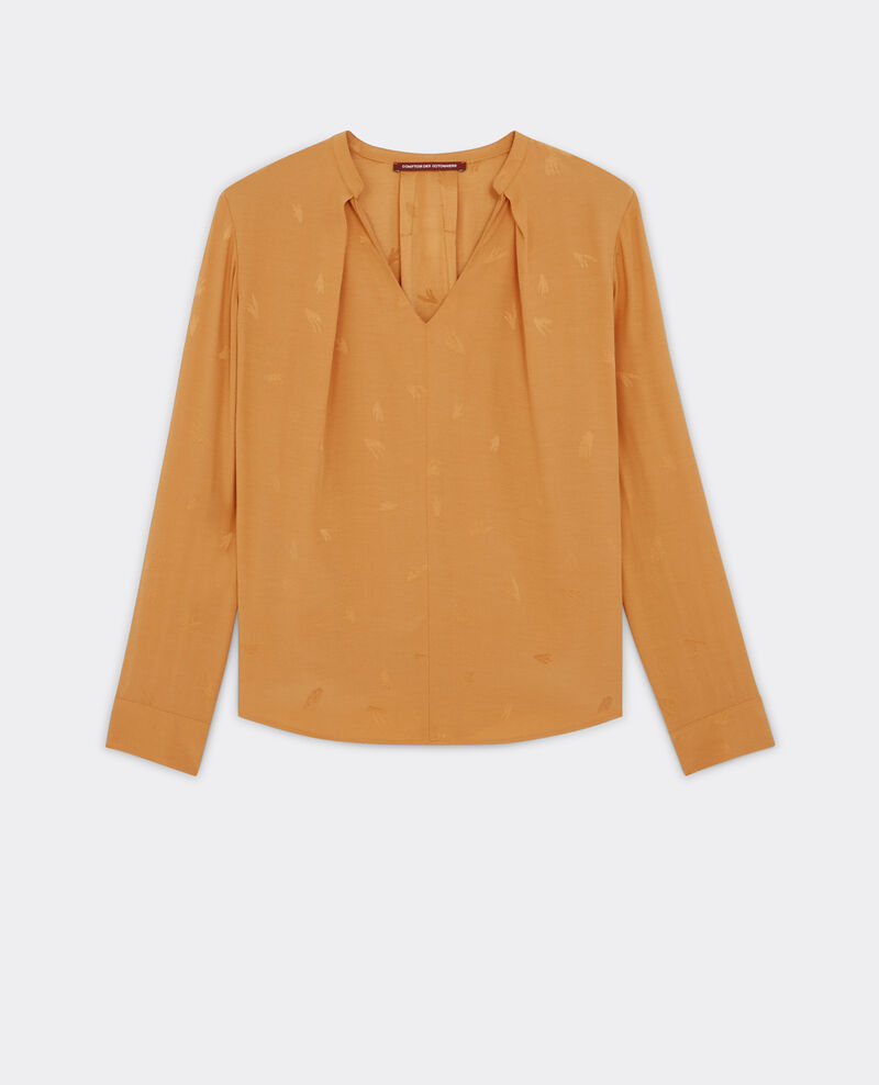 Blusa jacquard con cuello de pico Safron Bonita