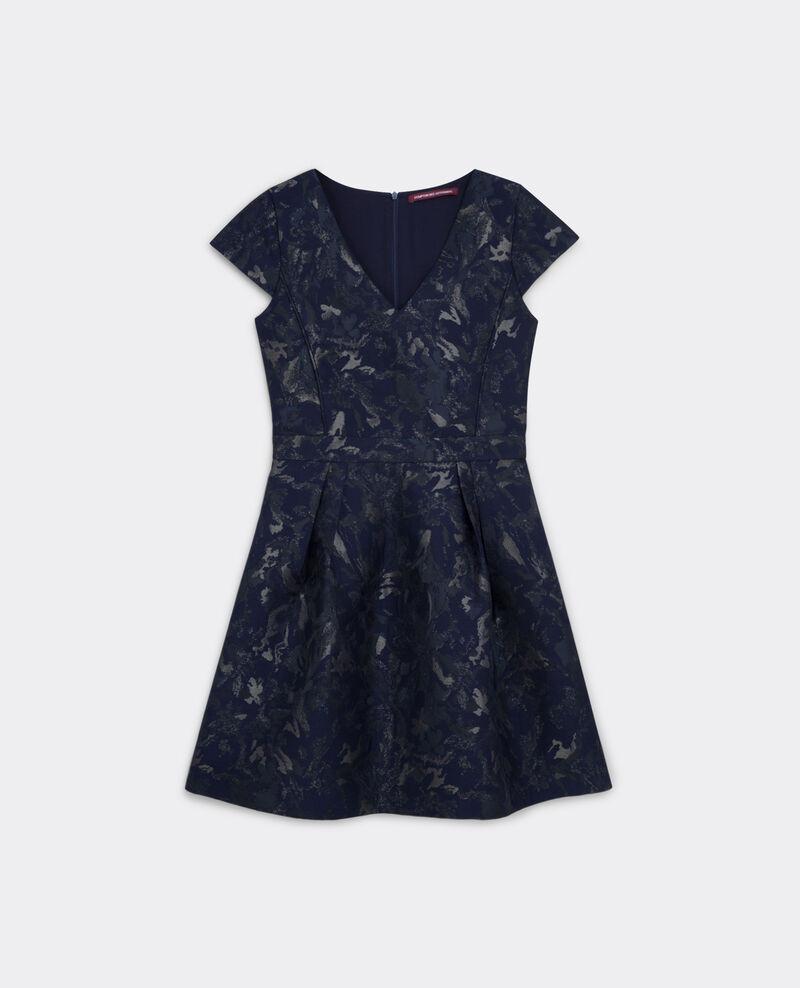 Vestido con jacquard de flores Dark ocean Birly