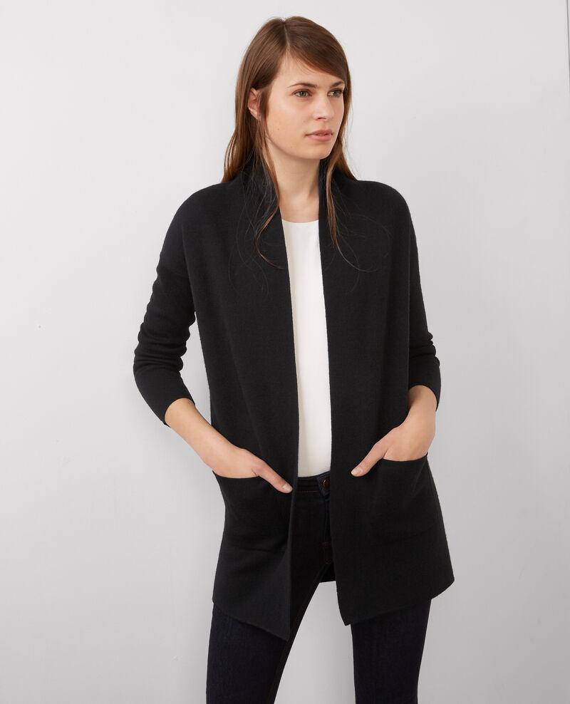 Cardigan mi long en laine noir dark ocean bosko comptoir des cotonniers - Cardigan comptoir des cotonniers ...