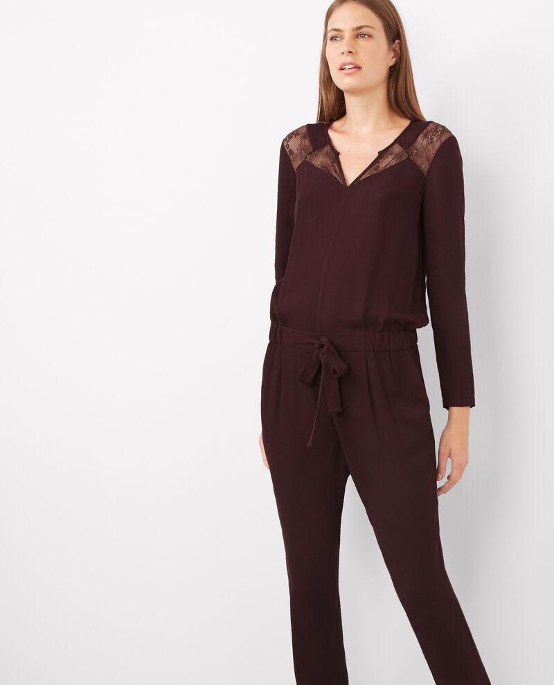 Combi-pantalon slim avec empiècements en dentelle Maroon Belcombi