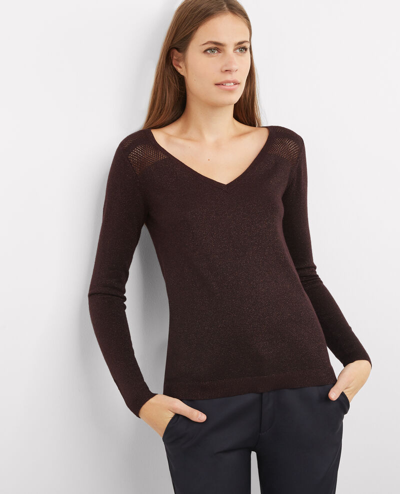 Gift set - Wool and lurex detail jumper Maroon Blayla