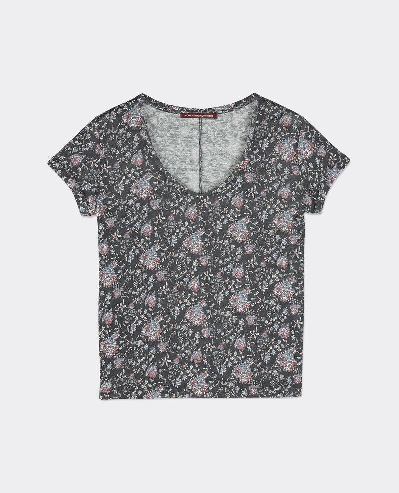 T-shirt en lin imprimé Pondichery slate Benito
