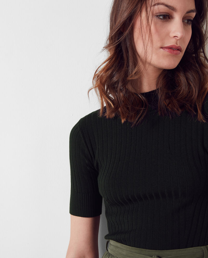 Ribbed wool knit top  Noir Chamel