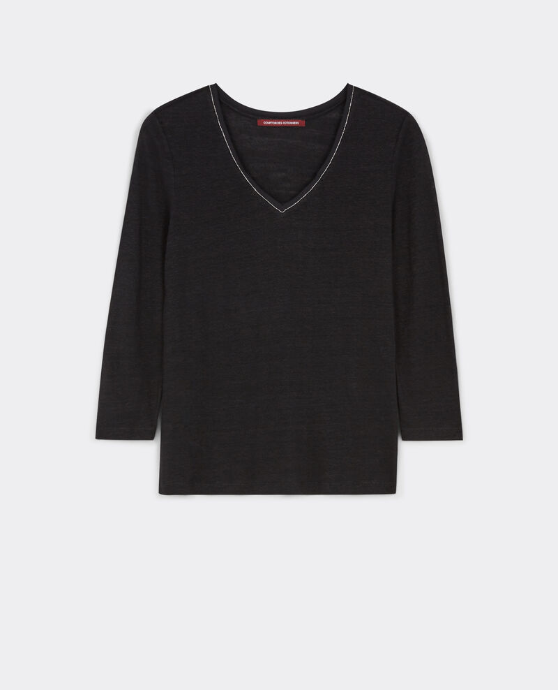 T-shirt en lin à manches 3/4 avec détail à l'encolure Noir Barren