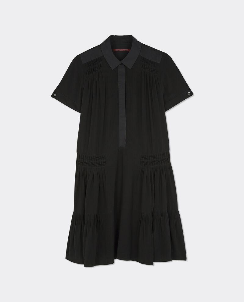 Robe à col chemise Noir Bonjour