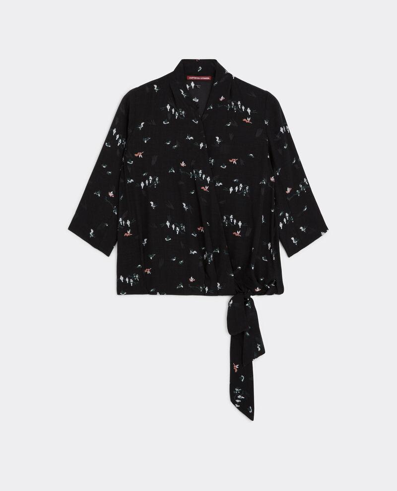 Blusa estampada con escote cruzado Birdy noir Bigcoeur