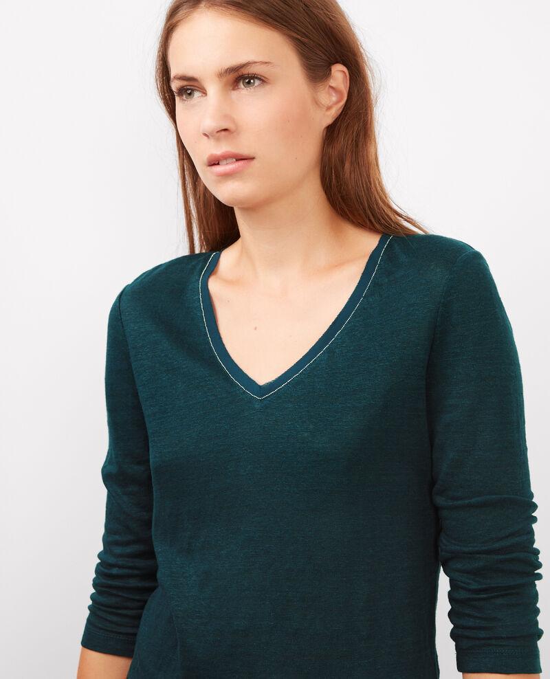 T-shirt en lin à manches 3/4 avec détail à l'encolure Orion Barren