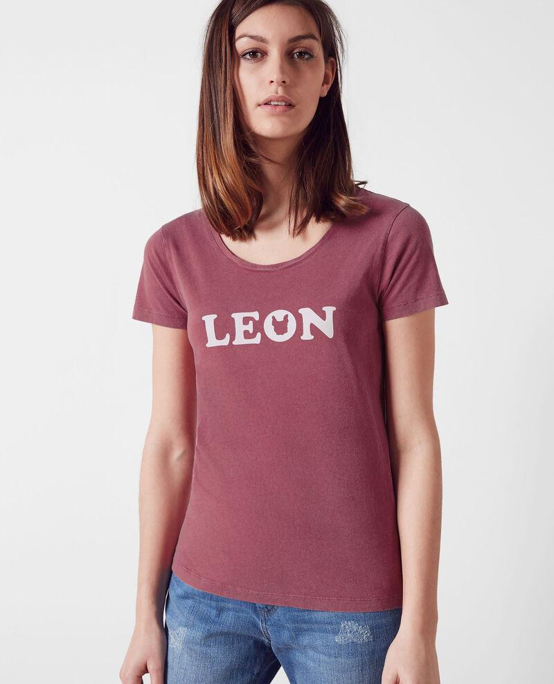 Léon-print t-shirt Raspberry Chaloupe