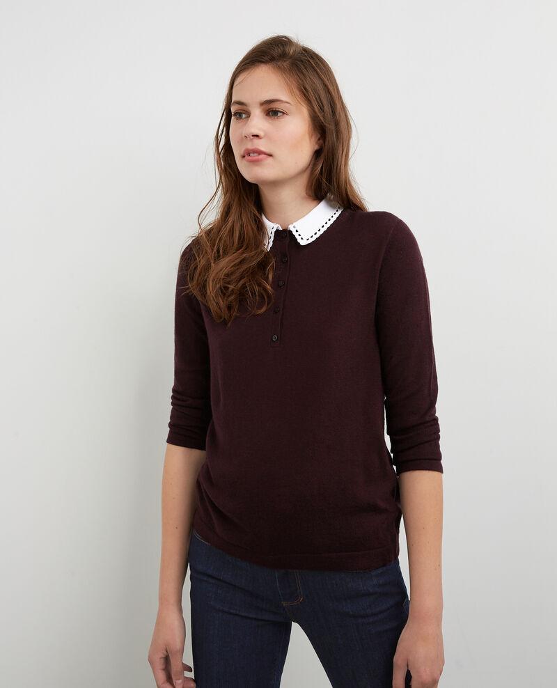 pull avec laine et col chemise amovible maroon britany comptoir des cotonniers. Black Bedroom Furniture Sets. Home Design Ideas