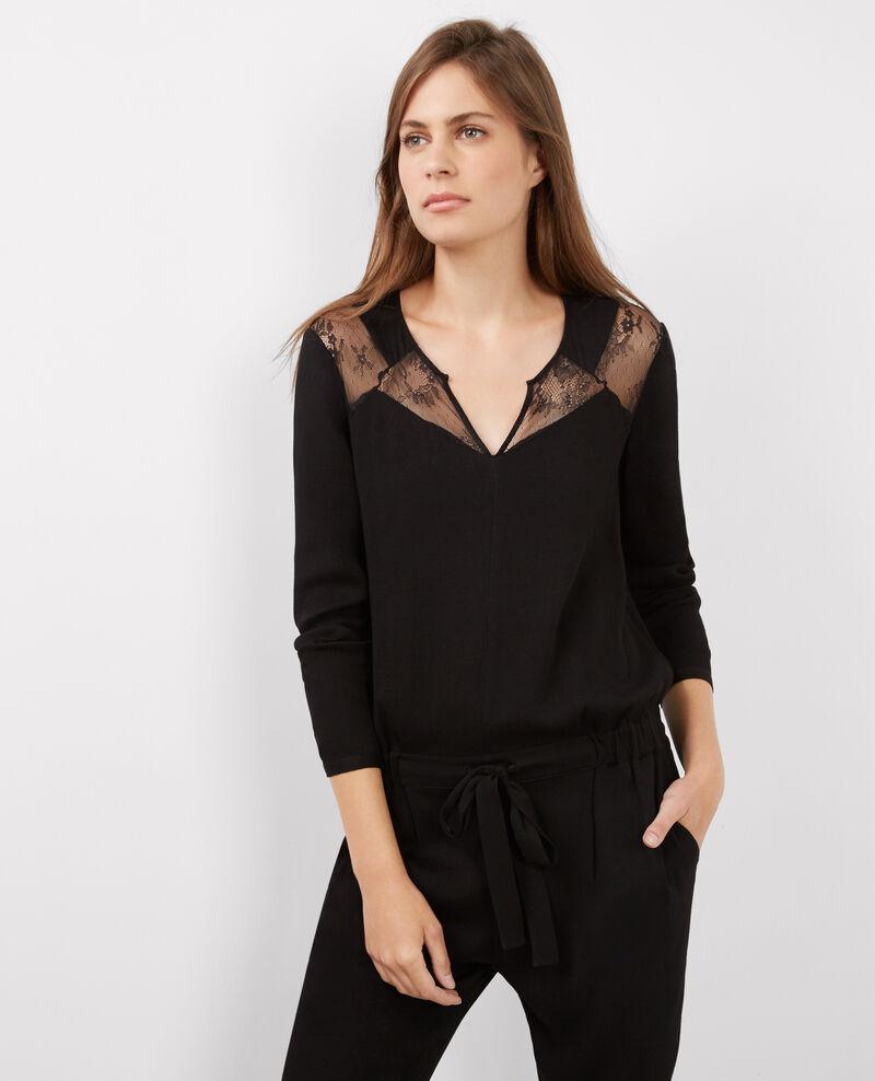 Combi pantalon slim avec empi cements en dentelle noir belcombi comptoir des cotonniers - Combi pantalon chic ...