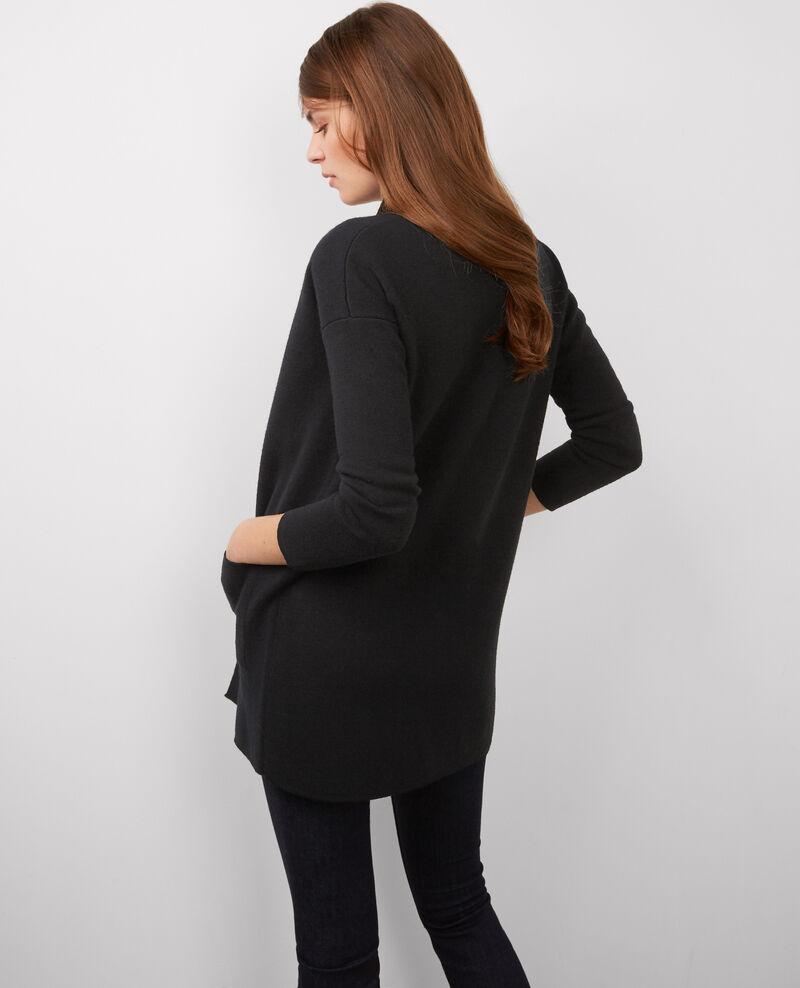 Cárdigan-abrigo de lana Noir/dark ocean Bosko